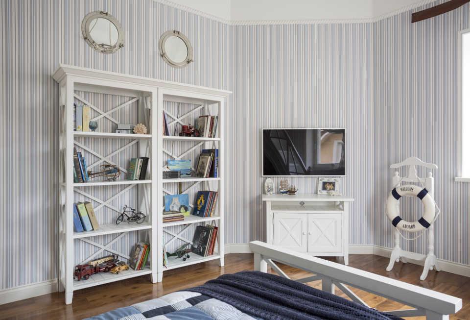 Книжные шкафы в интерьере стиля Прованс