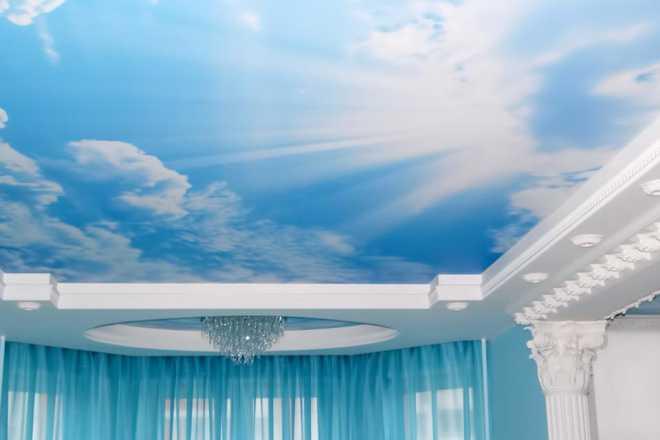 Уникальное оформление дома: натяжные потолки с фотопечатью