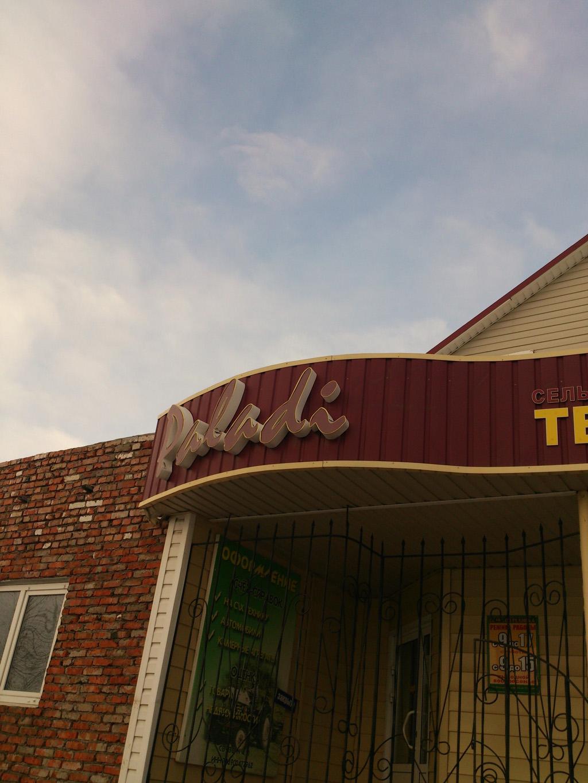 Вывеска «Paladi» на фасаде магазина «Сельхозтехника» на улице Макаренко, дом 61